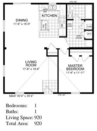 Backyard cottage 447 floor plan for Backyard cottage floor plans